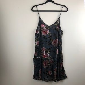 American Eagle NWT slip velvet embroidered dress